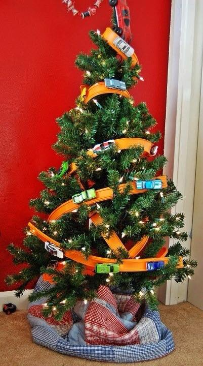 Hot Wheels Christmas Tree. This picture isn't mine, if it is yours or you know, who took it, I'd be more than happy to credit you/them.